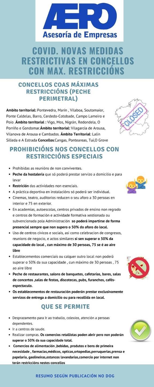Novas medidas restrictivas en concellos de Galicia